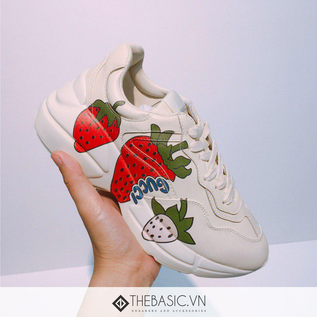 GIÀY GUCCI RHYTON STRAWBERRY OFF-WHITE